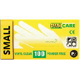 DISPOSABLE VINYL GLOVES, POWDERED - BOX OF 100 CLEAR - SMALL