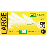 DISPOSABLE VINYL GLOVES, POWDERED - BOX OF 100 CLEAR - LARGE