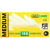 DISPOSABLE VINYL GLOVES, POWDERED - BOX OF 100 CLEAR - MEDIUM