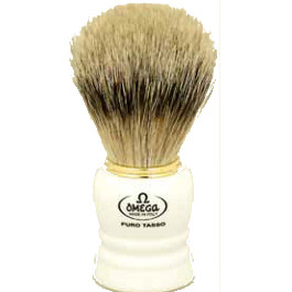 OMEGA SHAVING BRUSH WHITE HANDLE 100% PURE PREMIUM BADGER BRISTLES