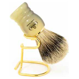 OMEGA SHAVING BRUSH MARBLE HANDLE WITH STAND 100% PURE BADGER BRISTLES