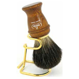 OMEGA SHAVING BRUSH WOODEN HANDLE WITH STAND 100% PURE BADGER BRISTLES