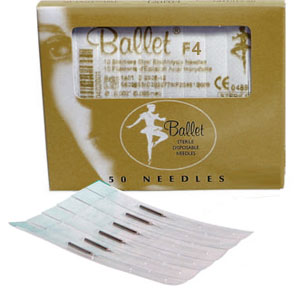 BALLET GOLD 1 PIECE NEEDLES (DISPOSABLE) F4 PK50
