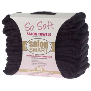 SO SOFT MICROFIBRE SALON TOWELS BLACK (10 PACK)