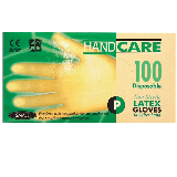 DISPOSABLE LATEX GLOVES, POWDERED - BOX OF 100 CLEAR - SMALL