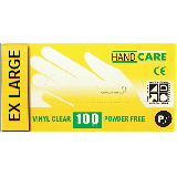 DISPOSABLE VINYL GLOVES, POWDERED - BOX OF 100 CLEAR - EX LARGE