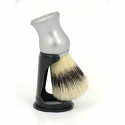 OMEGA SHAVING BRUSH MATT SILVER HANDLE WITH STAND 100% PURE BRISTLES