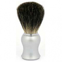 OMEGA SHAVING BRUSH MATT SILVER HANDLE 100% PURE BADGER BRISTLES