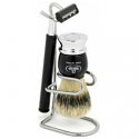 OMEGA SHAVING BRUSH WITH STAND & RAZOR 100% PURE BRISTLES