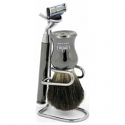 OMEGA SHAVING BRUSH WITH STAND & RAZOR 100% PURE BADGER BRISTLES