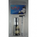 OMEGA SHAVING BRUSH & RAZOR PACK (CHROME)