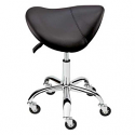 AQUA BLACK SADDLE STOOL CHROME BASE