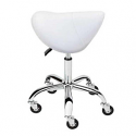 AQUA WHITE SADDLE STOOL CHROME BASE