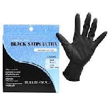 BLACK SATIN POWDER FREE LATEX 4PK REUSABLE GLOVES - LARGE